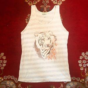 White lion, striped tank top